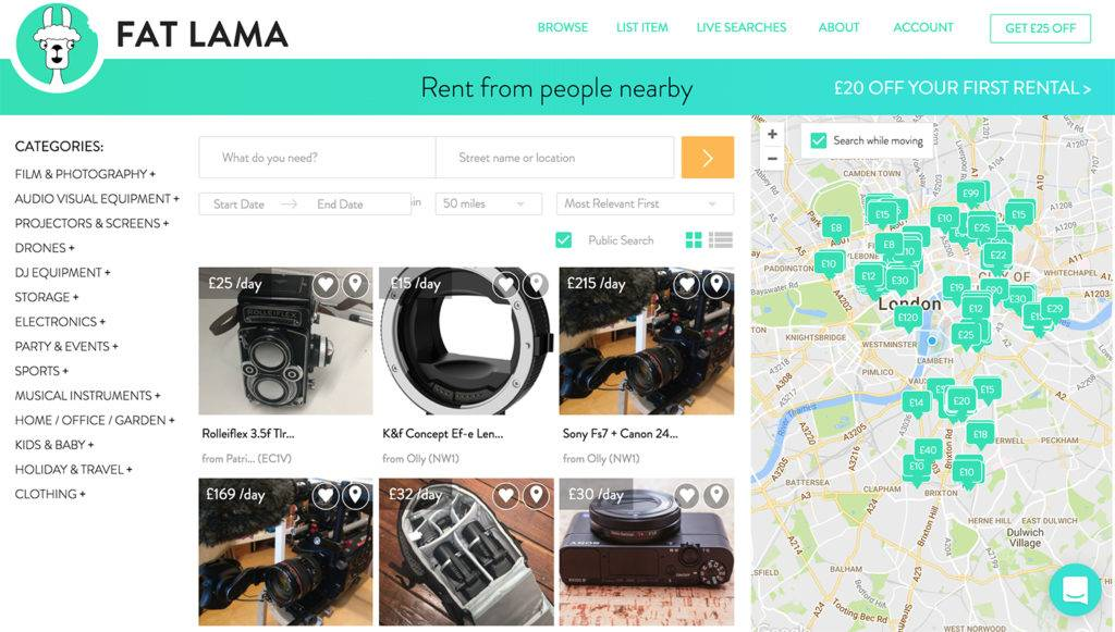Screenshot of a search for film and photography equipment on the Fat Lama website
